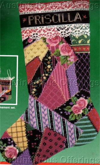 RARE ROSSI VICTORIAN CRAZY QUILT NEEDLEPOINT CHRISTMAS STOCKING KIT