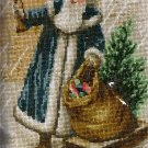 RARE VICTORIAN POSTCARD STYLE BLUE ROBE SANTA WITH HORN CROSS STITCH KIT
