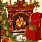 RARE COZY CHRISTMAS FIREPLACE CREWEL EMBROIDERY KIT TREE CAT