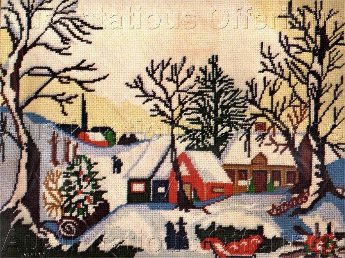 RARE VINTAGE WINTER FARM VILLAGE FOLK ART CHRISTMAS NEEDLEPOINT KIT