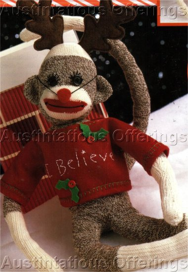 RARE CHRISTMAS SOCK MONKEY KIT RUDY CHRISTMAS RED REINDEER  NOSE LEISURE ARTS