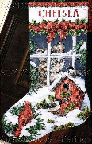 WINTER WINDOW SILL  STAMPED CROSS STITCH CHRISTMAS STOCKING KIT KITTY CAT & BIRDS