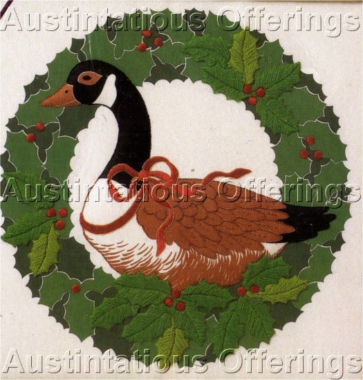 CHRISTMAS GOOSE SCULPTED CREWEL EMBROIDERY KIT