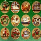 RARE LINEN ORNAMENTS SET 12  TWELVE DAYS OF CHRISTMAS CROSS STITCH KIT