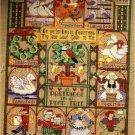 RARE VINTAGE LINEN CHRISTMAS CROSS STITCH SAMPLER KIT 12 DAY XMAS