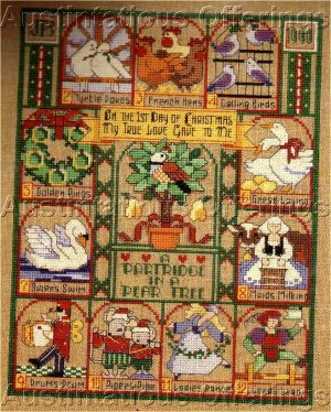 12 Days Of Christmas Cross Stitch.Rare Vintage Linen Christmas Cross Stitch Sampler Kit 12 Day Xmas