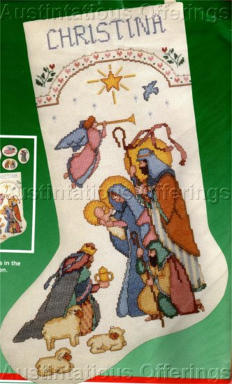 RARE AVERY NATIVITY SCENE CROSS STITCH CHRISTMAS STOCKING KIT