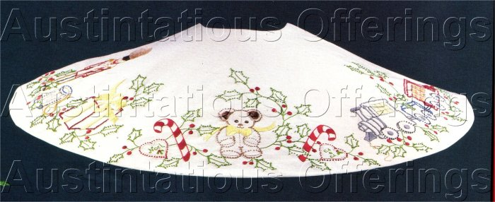 RARE TOYS ON PARADE  CANDLEWICKING TREE SKIRT CREWEL EMBROIDERY  KIT JEAN FOX