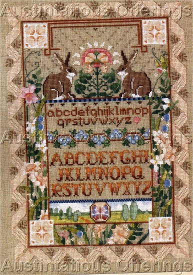 RARE LINEN CROSS STITCH SAMPLER KIT ROSSI BUNNIES