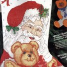 RARE ST NICK AND TEDDY  CROSS STITCH STOCKING KIT SANTA HOLDING BEAR