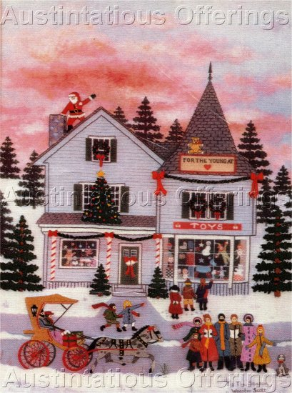 RARE PRIMITIVE FOLK ART JANE WOOSTER SCOTT CHRISTMAS EMBROIDERY KIT