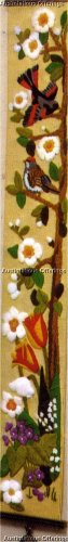TRAILING FLORAL TREE OF LIFE  BIRD SONG BELL PULL CREWEL EMBROIDERY KIT