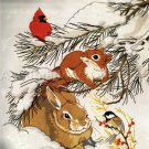 RARE LINDA POWELL WINTER CRITTERS CREWEL EMBROIDERY KIT CARDINAL SQUIRREL BUNNY RABBIT CHICKADEE
