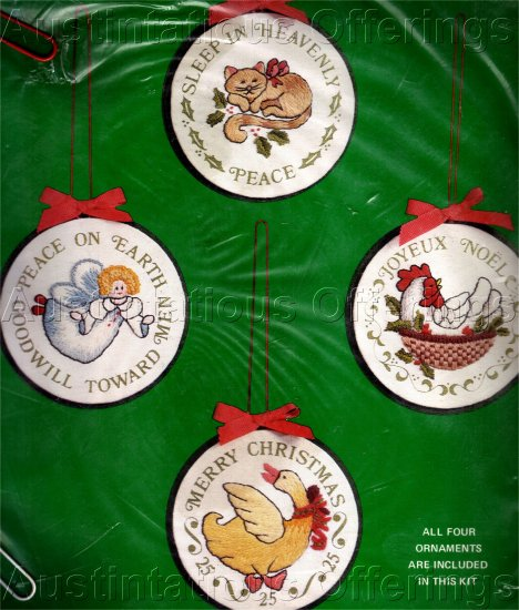 RARE LECLAIR ANIMAL FOLKART CREWEL EMBROIDERY ORNAMENTS KIT CHRISTMAS HOLIDAYS