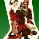 RARE DONNA GREEN WOODLAND ANIMALS CREWEL EMBROIDERY CHRISTMAS STOCKING KIT