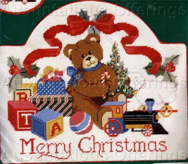 RARE LECLAIR CHRISTMAS TEDDY BEAR NEEDLEPOINT KIT TOY TRAIN WELCOME PLAQUE