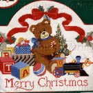 RARE LECLAIR CHRISTMAS TEDDY BEAR NEEDLEPOINT KIT TOY TRAIN WELCOME PLAQUE