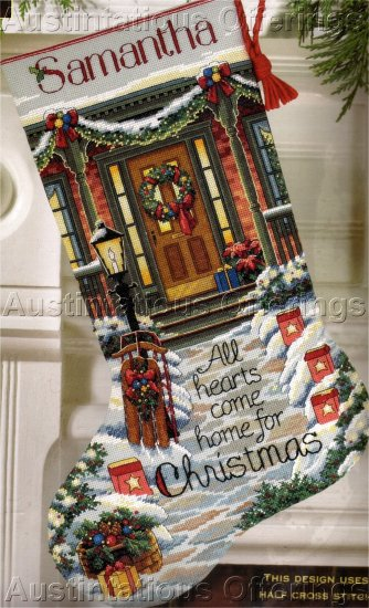 JACKINS GOLD COLLECTION CROSS STITCH KIT STOCKING ALL HEARTS COME HOME