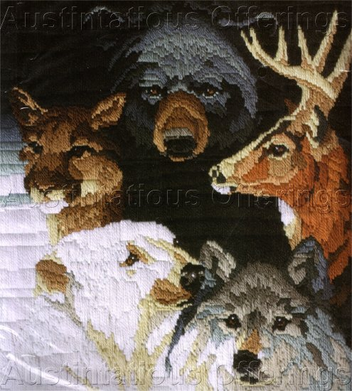 RARE ROGER REINARDY WILDLIFE LONGSTITCH NEEDLEPOINT KIT BEAR COUGAR