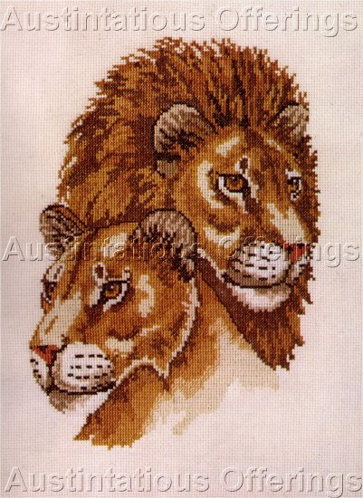 RARE LION LIONESS PORTRAIT CROSS STITCH KIT AFRICAN KING OF BEASTS