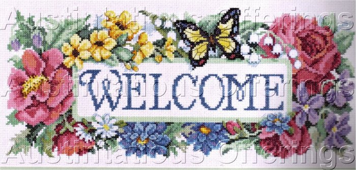 FLORAL WELCOME SAMPLER CROSS STITCH KIT BUTTERFLY ROSE