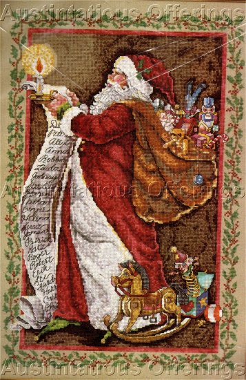 RARE DONNA YUEN  SANTA  CHECKING LIST BY CANDLELIGHT  CHRISTMAS CROSS STITCH KIT