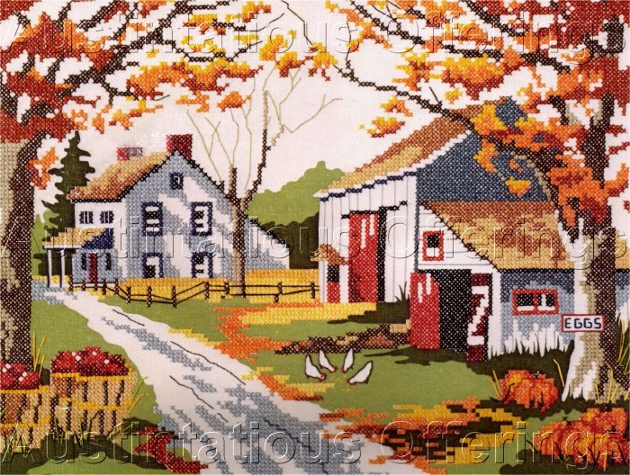 KRATZ STAMPED CROSS STITCH KIT AUTUMN COUNTRYSIDE FARM, APPLES PUMPKINS
