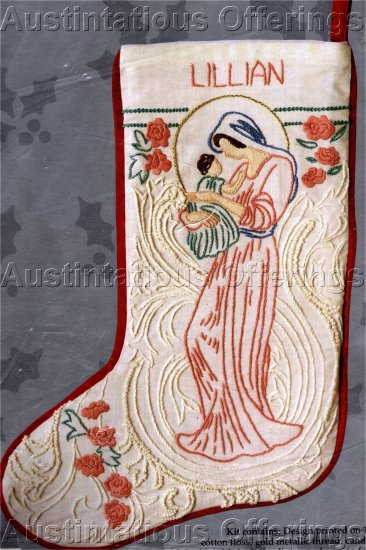 RARE INSPIRATIONAL HOLIDAY CANDLEWICKING  CREWEL EMBROIDERY STOCKING KIT MADONNA AND CHILD