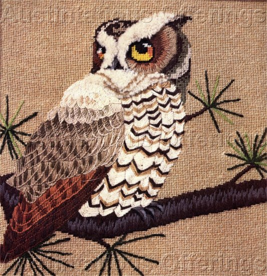 RARE ERICA WILSON TEXTURED NEEDLEPOINT KIT MAJESTIC OWL BIRD OF PREY