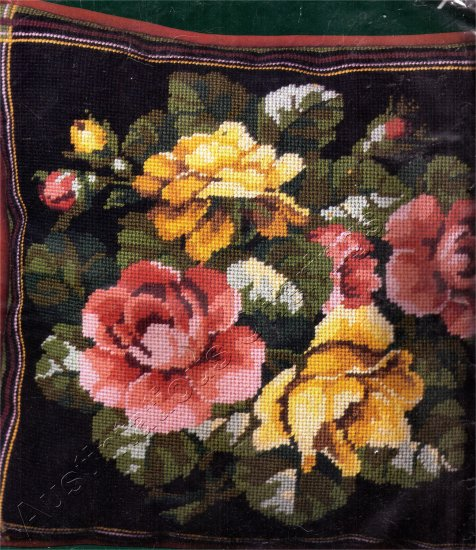 STRIKING BLACK BACKGROUND  VICTORIAN ROSE WREATH NEEDLEPOINT PILLOW KIT BLACK