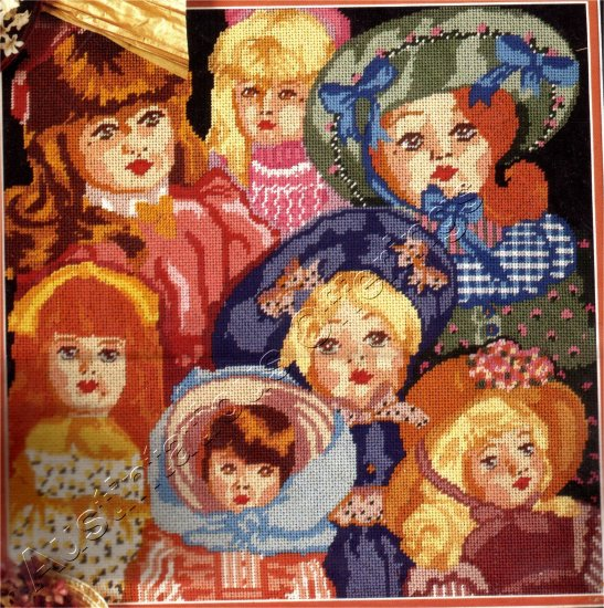 VINTAGE DOLL COLLECTOR NEEDLEPOINT KIT PORCELAIN DOLLS