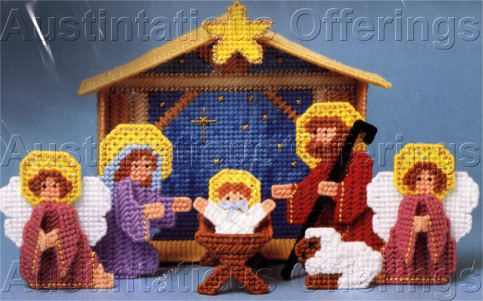 HARD TO FIND BIRTH OF CHRIST PLASTIC CANVAS  NEEDLE POINT KIT NATIVITY SCENE
