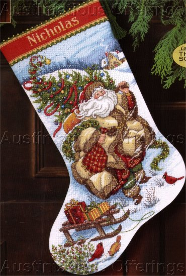 PEGGY ABRAMS WINDSWEPT SANTA GOLD COLLECTION CROSS STITCH STOCKING  KIT WINTER JOURNEY