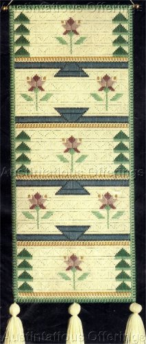 RARE LARGE COUNT NATIVE AMERICAN STYLE GREEN&ROSE  DHURRY  LONGSTITCH NEEDLEPOINT WALL HANGING KIT