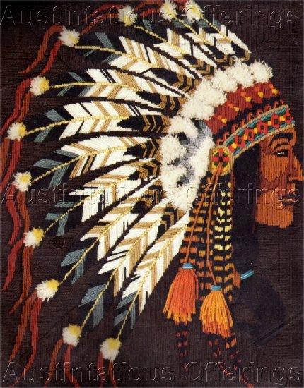 RARE NATIVE AMERICAN LONGSTITCH NEEDLEPOINT KIT INDIAN CHIEF HEAD DRESS