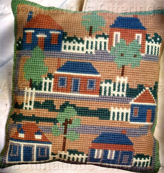 RARE FOLK ART SALTBOX COLONIAL HOUSES LARGE COUNT NEEDLEPOINT PILLOW KIT