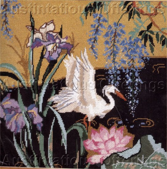 RARE SNOWY EGRET WATER POND FLORAL ORIENTAL NEEDLEPOINT KIT