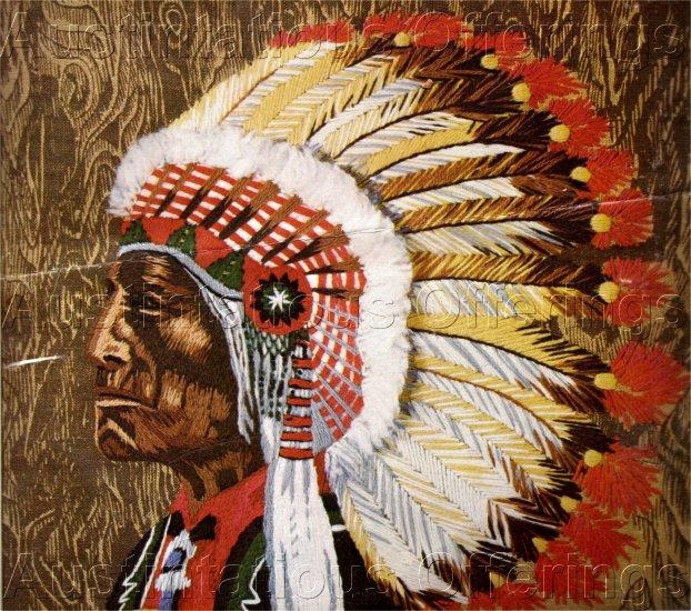 RARE WILSON NATIVE AMERICAN CHIEF CREWEL EMBROIDERY KIT ORNATE HEAD DRESS