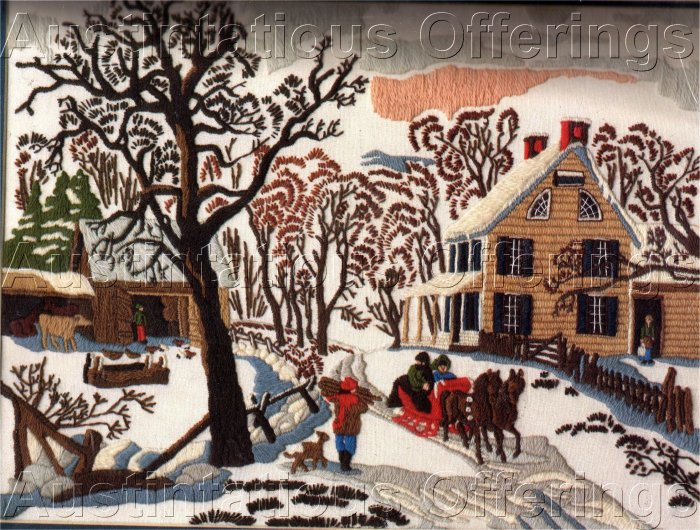 RARE AMERICANA WINTER FOLKART CURRIER IVES CREWEL EMBROIDERY KIT