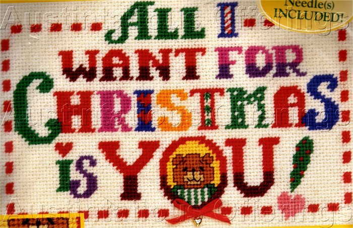 RARE LINDA GILLUM CHRISTMAS NEEDLEPOINT SAMPLER PICTURE / PILLOW  KIT