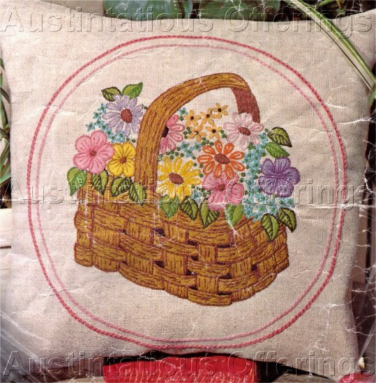 CHEERY FLOWER BASKET CREWEL EMBROIDERY PILLOW  KIT