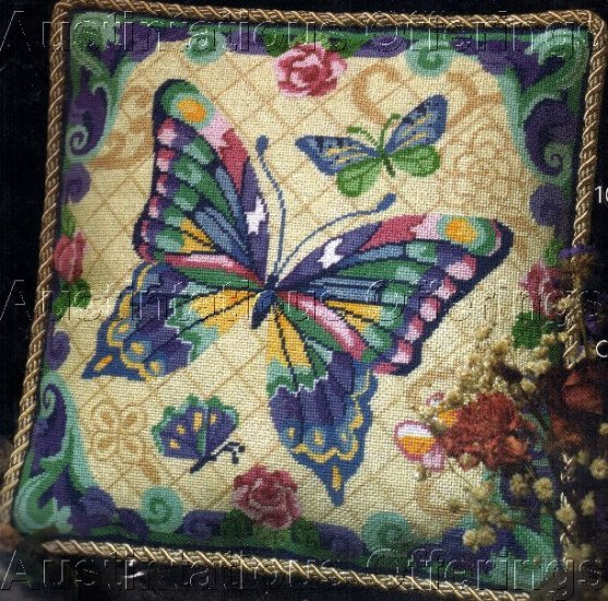RARE PETERSON  NEEDLEPOINT PILLOW KIT FANTASY BUTTERFLY