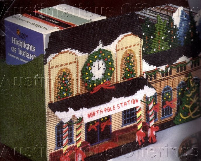 RARE MAGAZINE AND CD HOLDER PLASTIC CANVAS NORTH POLE TRAINSTATION NEEDLEPOINT KIT