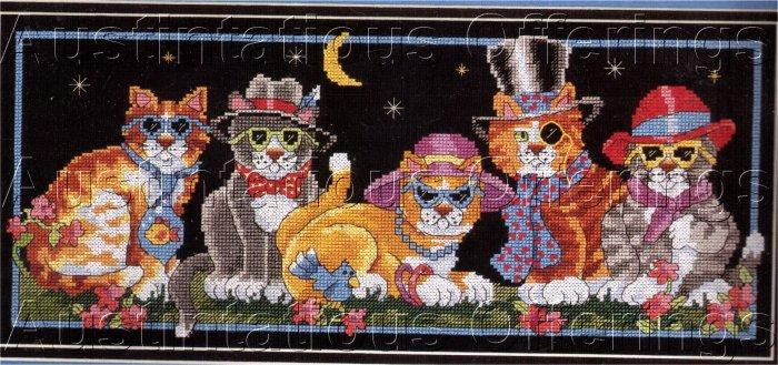 RARE VILCHECK KITTY CATS FASHIONABLE FELINES CROSS STITCH KIT COOL CATS