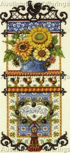 RARE ORTON FRENCH COUNTRY SUMMER SAMPLER EVENWEAVE CROSS STITCH KIT SUNFLOWERS