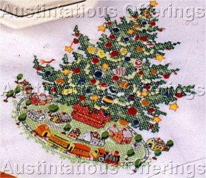 RARE PFALTZGRAFF CHRISTMAS HERITAGE TRAIN TREE SKIRT CROSS STITCH KIT