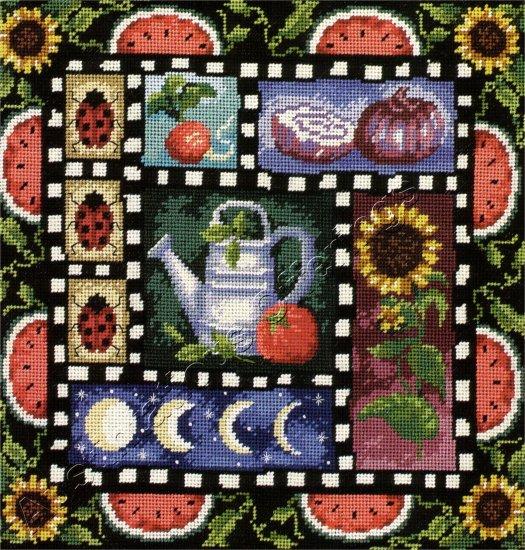 RARE C WINTERLE OLSON FRUIT VEGETABLE GARDEN WOOL NEEDLEPOINT KIT SUNFLOWERS