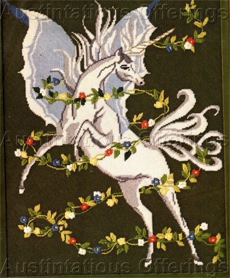 RARE MEDIEVAL FANTASY TEXTURED NEEDLEPOINT KIT MAGICAL WINGED UNICORN