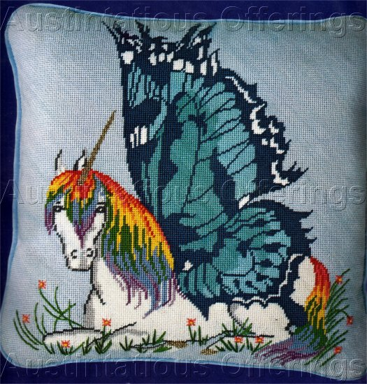 RARE CONTEMPORY RAINBOW COLORS BUTTERFLY WINGED UNICORN NEEDLEPOINT PILLOW KIT
