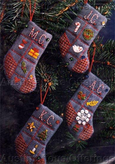 RARE CHRISTMAS SAMPLER CREWEL EMBROIDERY STOCKING ORNAMENTS KIT ADVENT GOODIES